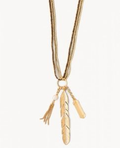 SPARTINA LUXE LONG BEADED FEATHER CHARM NECKLACE